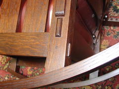 Close-up of thru-tenon joinery at back leg and steam bent rocker.